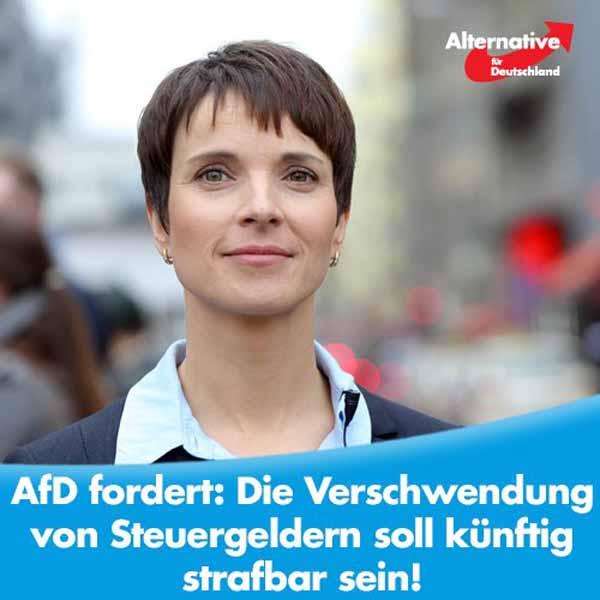 Die AfD Alternative für Deutschland fordert: Steuerverschwendung muss ein Straftatbestand werden. #Date:04.2016#
