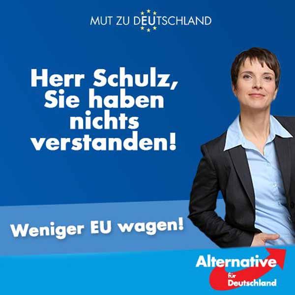 Der Präsident des EU-Parlaments, Schulz (SPD), warnt vor einer Implosion der EU. Er hat nichts verstanden. Weniger EU ist weitaus besser. Weniger EU wagen. #Date:04.2016#