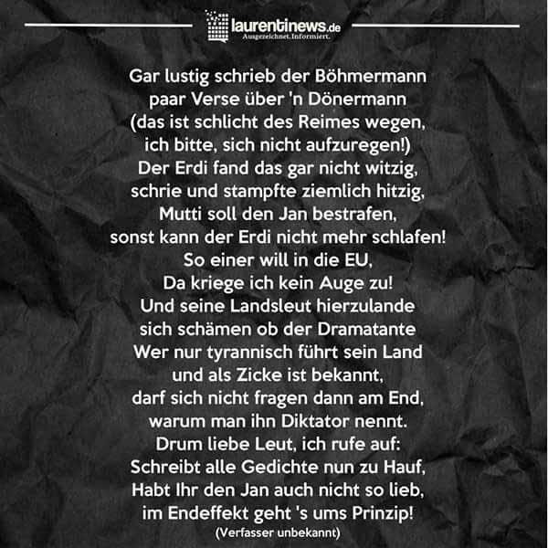 Böhmermann und Erogan: Drum liebe Leute ruf ich auf, schreibt alle nun Gedichte zuhauf. #Date:04.2016#