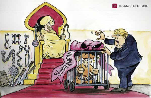 Böhmermann Affäre. Kanzlerin Merkel liefert Erdogan den Böhmermann frei Haus. Kleine Geschenke halten die Freundschaft, an der Merkels Schicksal hängt. #Date:04.2016#