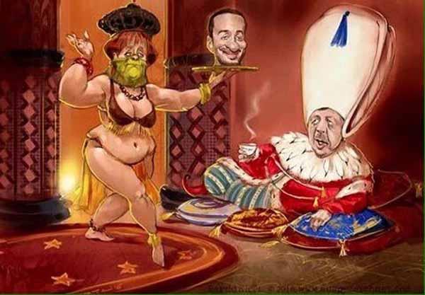 Kanzlerin Merkel serviert dem Sultan Erdogan den Kopf von Böhmermann auf dem silbernen Tablett. #Date:04.2016#