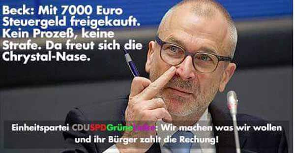 Volker Beck, Verfechter von Schächten und rituellen Beschneidungen und für die Grünen im Bundestag bleibt ohne Prozess wegen Verstoss gegen BTM. Wir machen was wir wollen, der Bürger zahlt. #Date:04.2016#