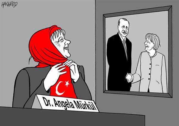 Bundeskanzlerin Mürkül ist nach dem Teufelspakt mit Erdogan zufrieden. Position gesichert, Deutschland und seine Werte verramscht. #Date:04.2016#