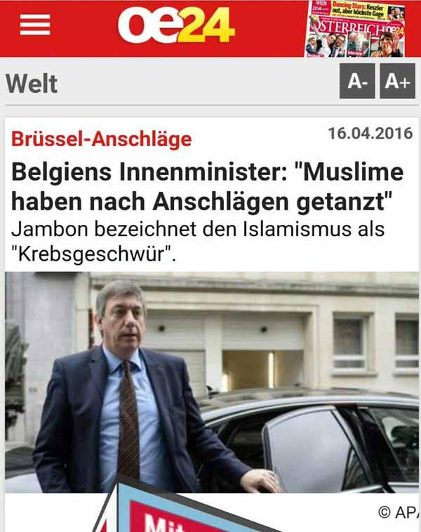 Belgiens Innenminister Jambon bezeichnet Islamismus als Krebsgeschwür. Muslime haben nach den Anschlägen von Brüssel getanzt. #Date:04.2016#