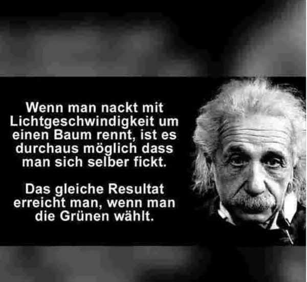 Frei nach Einstein: wenn man nackt mit Lichtgeschwindigkeit um einen Baum rennt, ist es durchaus möglich, dass man sich selber fickt. Das gleiche Resultat erreicht man, wenn man die Grünen wählt. #Date:04.2016#