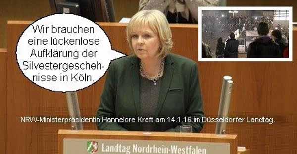 Die nordrhein-westfälische Ministerpräsidentin ließ die Unterlagen zu den Vorkommnissen Silvester 2015 in Köln für die Öffentlichkeit sperren. #Date:04.2016#