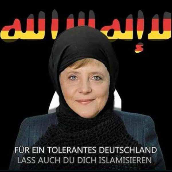 Frau Merkel vom Zentralrat der Muslime Deutschland möchte, dass wir uns alle islamisieren. #Date:04.2016#