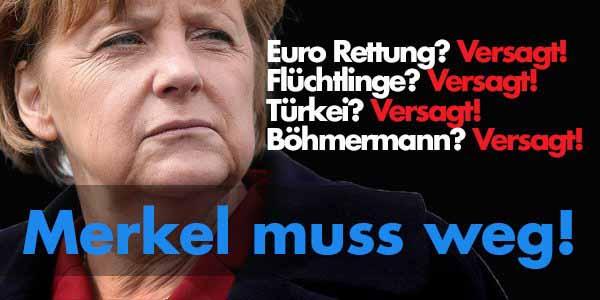 Merkel verliert dramatisch an Ansehen und weiss auch warum. Euro-Rettung – versagt. Flüchtlinge – versagt. Türkei-Deal – versagt. Böhmermann – versagt. #Date:04.2016#