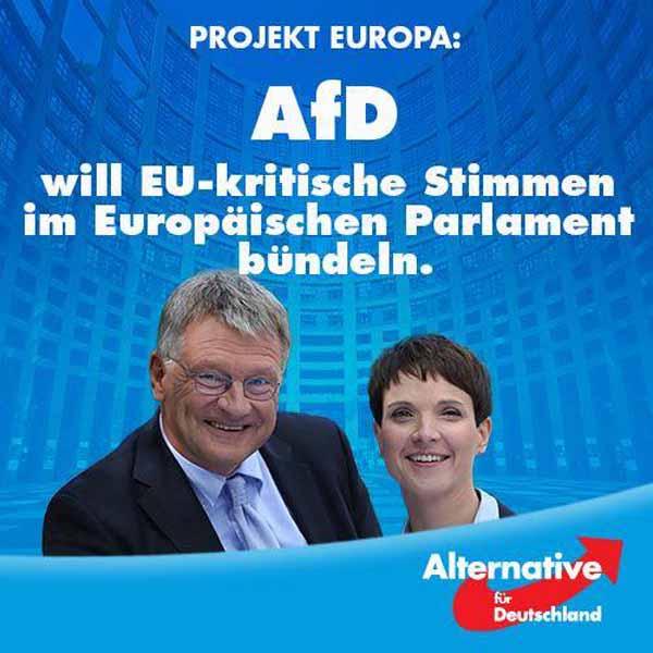 Die AfD Alternative für Deutschland will eurokritische Stimmen im Europäischen Parlament bündeln. Europäische Vielfalt souveräner Staaten , statt sozialistische Einfalt und Entmündigung. #Date:04.2016#