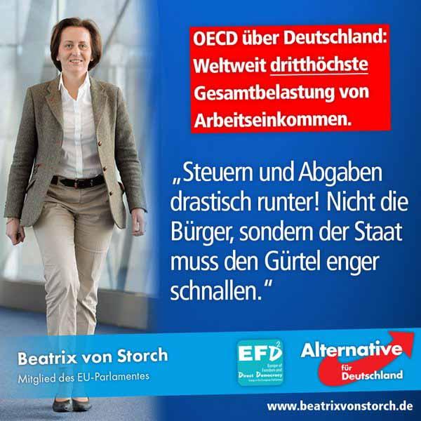 Laut OECD hat Deutschland die dritthöchste Gesamtbelastung von Arbeitseinkommen. Beatrix von Storch von der Alternative für Deutschland AfD sagt: Steuern und Abgaben drastisch runter. Nicht die Bürger, sondern der Staat muss den Gürtel enger schnallen. #Date:04.2016#