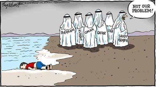 Ertrunkene Flüchtlinge. Kein Problem für die arabischen Bruderstaaten wie Bahrain, Oman, Kuwait, Quatar, Saudi-Arabien usw. Nicht unser Problem ist deren Glaubensbekenntnis. #Date:04.2016#