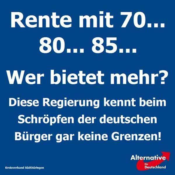 Rente mit 70 oder 80  oder 85 Jahren. Die Merkel Regierung kennt beim  Schröpfen der deutschen Bürger gar keine Grenzen. #Date:04.2016#