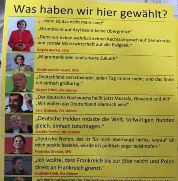 Was haben wir gewählt. Deutschland-feindliche Aussagen von gewählten Politikern der Altparteien. #Date:04.2016#