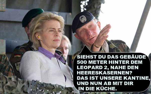 Die tapfere Bundesverteidigungsmininsterin Flinten-Uschi von der Leyer erhält ihre Einweisung zum Küchendienst #Date:05.2016#