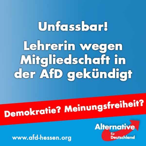 Lehrerin verliert wegen AfD-Mitgliedschaft Job in Hessen. Demokratie? Meinungsfreiheit? #Date:05.2016#