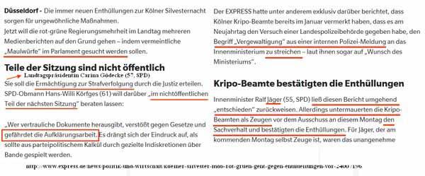 In Köln wird geprüft gegen Leute vorzugehen, die angeblich die Aufklärungsarbeit zu den Vorfällen Silvester 2015 im Untersuchungsausschuss durch die Veröffentlichung von Beratungsdetail gefährden. #Date:05.2016#