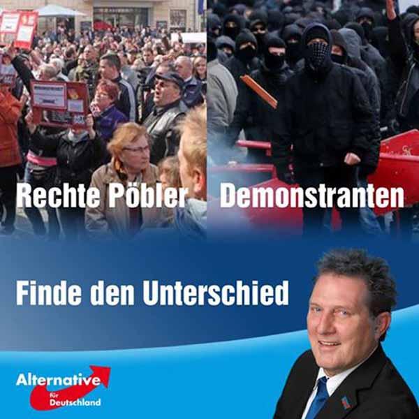Rechte Pöbler einerseits – Demonstranten andererseits. Finde den Unterschied #Date:04.2016#