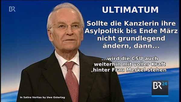 CSU-Maulhelden stellten der Kanzlerin ein Ultimatum bis März. Was ist passiert – nix. Maulhelden, die sich nix trauen. #Date:05.2016#