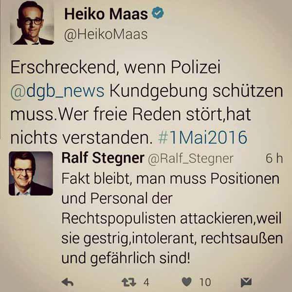 Ralf Stegner SPD ruft dazu auf, Andersdenkende zu attackieren. #Date:05.2016#