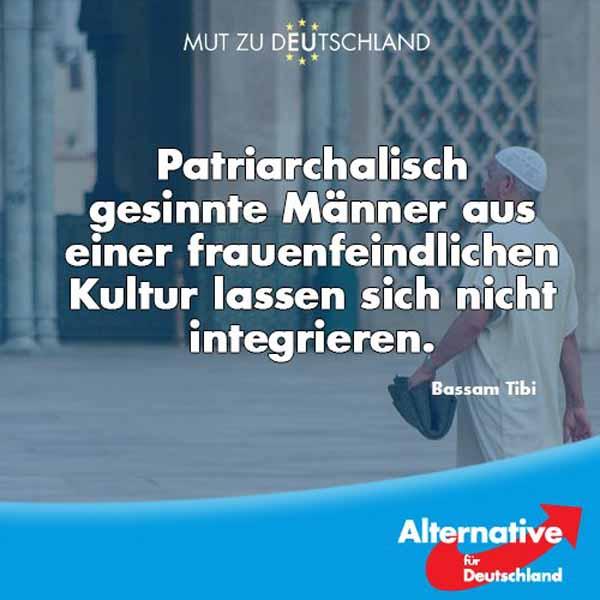 Patriarchalisch gesinnte Männer aus einer frauenfeindlichen Kultur lassen sich nicht integrieren. Bassam Tibi,  seit 1962 in Deutschland lebender Syrer. #Date:05.2016#
