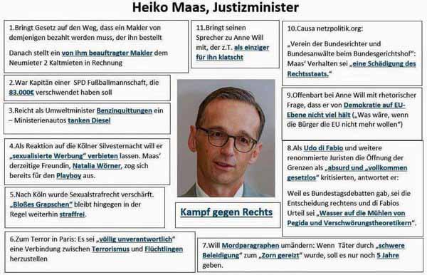 Bundesjustizminister Heiko Maas kämpft nicht gegen RECHTS, er kämpft gegen das Recht #Date:05.2016#