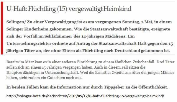 Unbegleiteter Flüchtling (15) vergewaltigt Mädchen (14) in Kinderheim. Nur öffentlich bekannt, weil Tippgeber informierten. Polizei und Lügenpresse schweigt. #Date:05.2016#