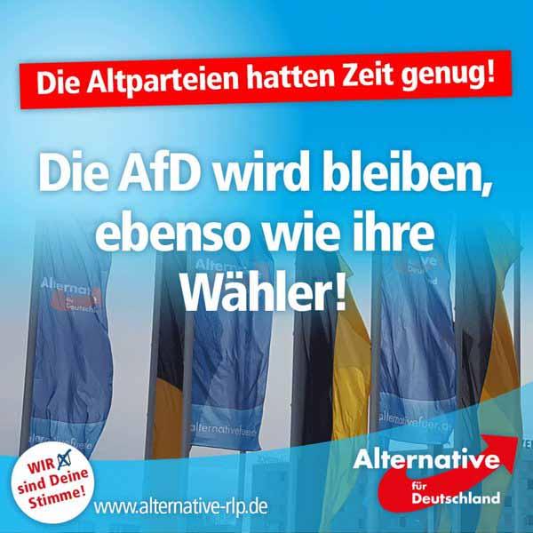 Die AfD Alternative für Deutschland wird bleiben, ebenso wie ihre Wähler. #Date:05.2016#