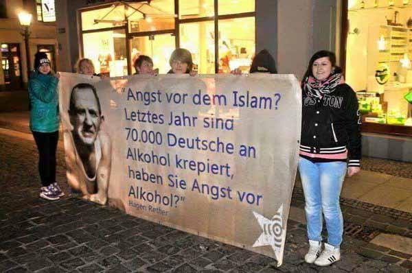 Angst vor dem Islam? Letztes Jahr sind 70000 Deutsche an Alkohol krepiert. Haben Sie Angst vor Alkohol? Ihr dummen Puten, ob man Alkohol trinkt entscheidet man selbst.  #Date:05.2016#