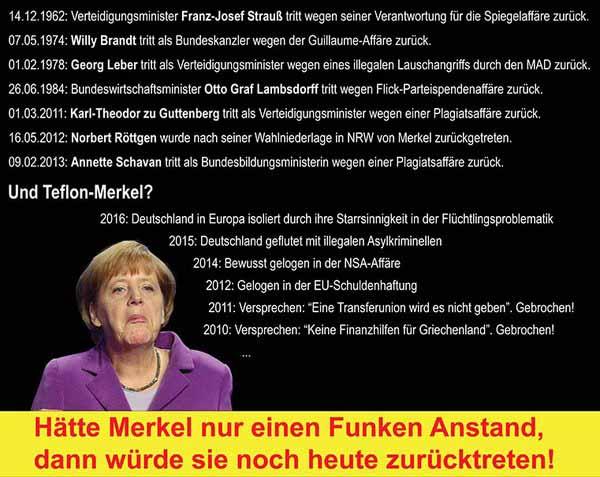 Teflon-Merkel hat keinen Funken Anstand. Sonst wäre sie schon lange zurückgetreten #Date:05.2016#