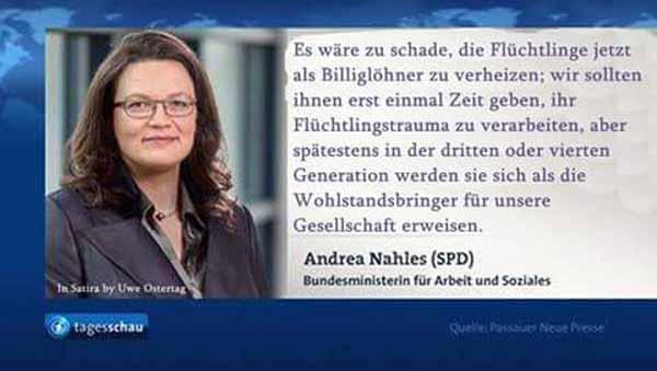 Nahles SPD will Flüchtlingen 3-4 Generationen Zeit geben, bis sie sich als nützlich erweisen. #Date:05.2016#