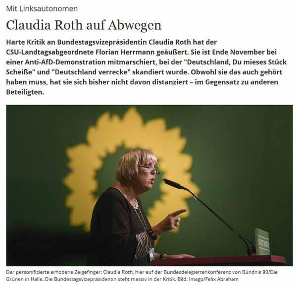 Deutschland , du mieses Stück Scheisse. Und Claudia Roth Grüne war dabei. #Date:05.2016#