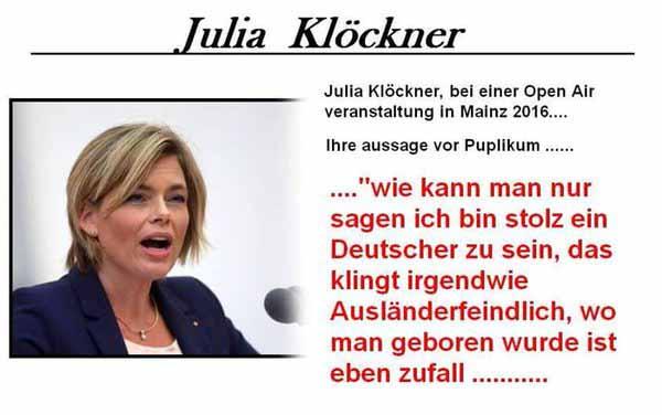 Julia Klöckner CDU ist eine deutschfeindliche Politikerin, die ihr Heimatland verrät. #Date:05.2016#