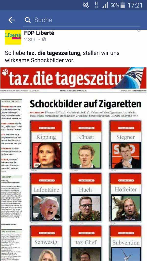 So stellen wir uns Schockbilder auf Zigarettenschachteln vor: Kipping, Künast, Stegner, Hofreiter, Roth, SPD, Grüne, Linke #Date:05.2016#