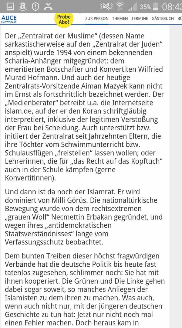 Alice Schwarzer zeigt klare Kante bei Islam und den in Deutschland aktiven Moslemverbänden #Date:05.2016#