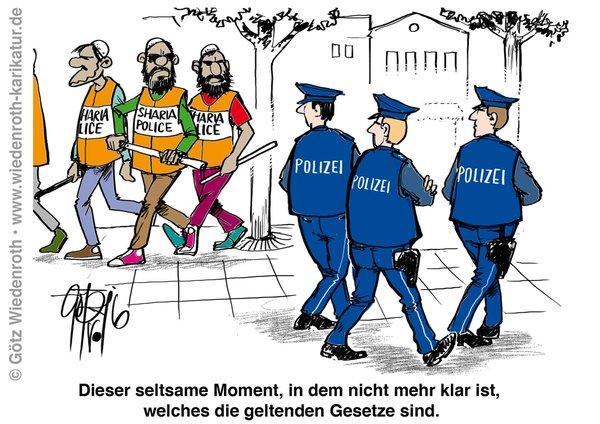 Scharia-Polizei und staatliche Polizei. Richten wir uns doch einstweilen auf solche Zustände ein. #Date:05.2016#