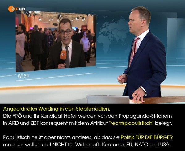 Angeordnetes Wording in den Staatsmedien zu den Bundespräsidentenwahlen in Österreich. Hofer wird immer mit dem Zusatz Rechtspopulist genannt.  #Date:05.2016#