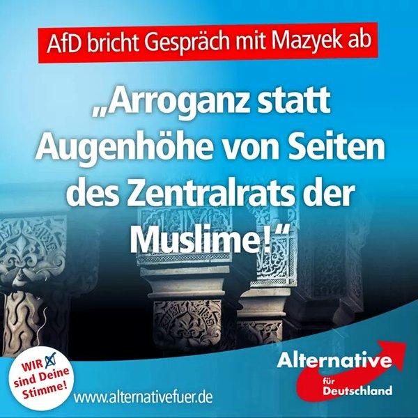 Zentralrat der Muslime stellt sich über eine deutsche Partei. Und diese Arroganz ist nur die Spitze des Eisbergs. #Date:05.2016#