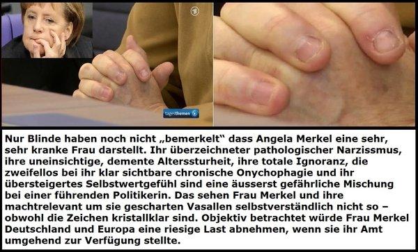Die deutsche Bundekanzlerin Angela Merkel CDU ist eine sehr kranke Person, die dringendst im Interesse Deutschlands von allen Ämtern zurücktreten muss. #Date:05.2016#
