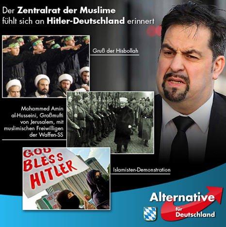 Obermoslem Aiman Mazyek vom Zentralverband der Moslems in Deutschland blamiert sich mit seiner Nazikeule gegen die AfD. #Date:05.2016#