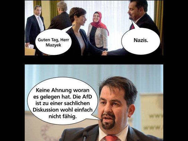 Der Moslemscheich Aiman Mayzek vom Zentralverband der Muslime in Deutschland und seine behinderten Vorstellungen von einer demokratischen Partei in Deutschland. #Date:05.2016#