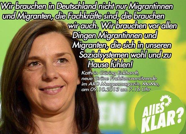 Kathrin Göring-Eckhardt  GRÜNE sagte, wichtig ist, dass sich die Migranten in unseren Sozialsystemen wohlfühlen. Jawoll. #Date:05.2016#