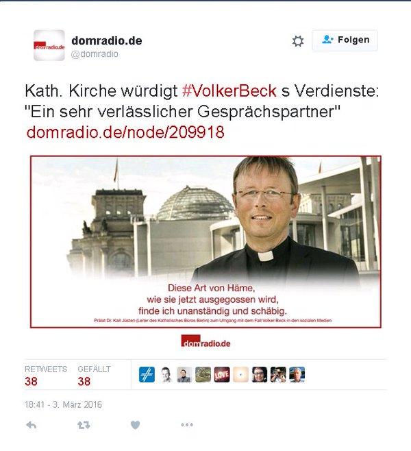 Die katholische Kirche würdigt die Verdienste von halal-Volker blut-Beck von den Grünen. #Date:05.2016#