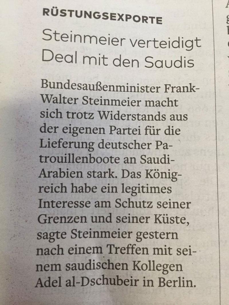 Außenminister Steinmeier SPD kann verstehen, dass Saudi-Arabien seine Grenzen mit schweren deutschen Waffen schützen muss. Zufällig geht es aber auch noch ums Geld verdienen. #Date:05.2016#