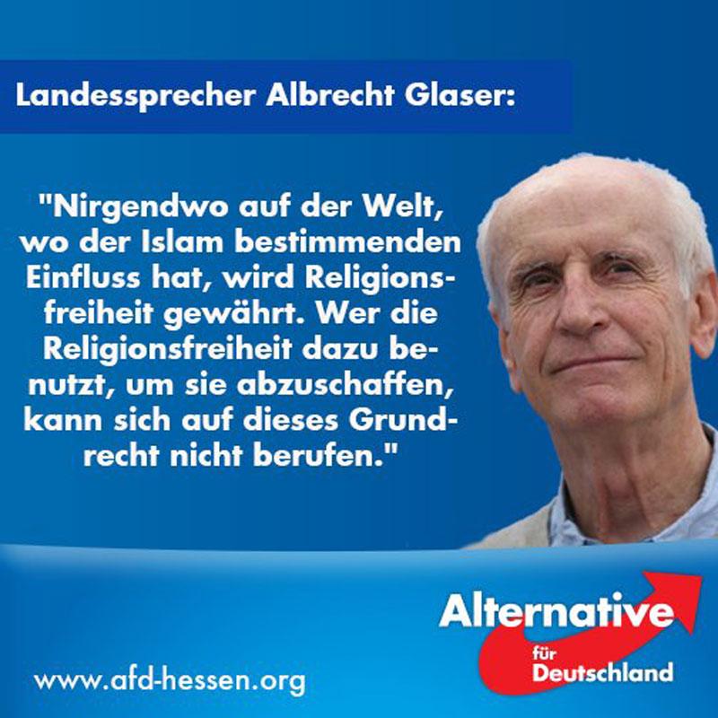 Albrecht Glaser AfD Alternative für Deutschland weist darauf hin, dass der Islam der weltweite entschiedenste Bekämpfer und Feind der Religionsfreiheit ist. #Date:05.2016#