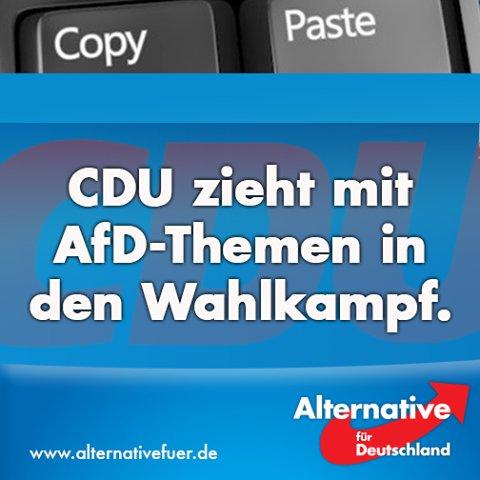 CDU will mit von der AfD Alternative für Deutschland besetzten Themen in den Bundestagswahlkampf 2017 ziehen. Kopierende Schwachmaten #Date:05.2016#