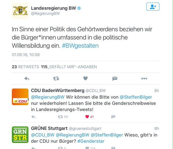 Baden-Württemberg CDU und Grüne im Gender-Streit. Die AfD ist sowieso dagegen #Date:05.2016#