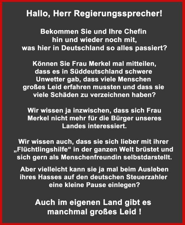 Kann Merkel mal Pause machen mit ihrem Narzißmus und sich um Deutschland kümmern. #Date:06.2016#