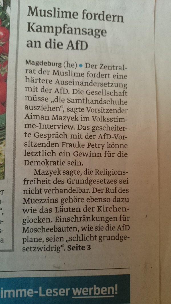 Muslime fordern Kampfansage an AfD. Mazyek motiviert erstklassig Anti-Islam-Stimmung. #Date:06.2016#