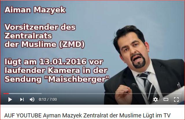 Ayman Mazyek, Vorsitzender des absurden Zentralrats der Muslime, verneint lügend  vor laufender Kamera bei Maischberger, dass er etwas mit der antidemokratischen Website Islam.de zu tun hat. https://www.youtube.com/watch?v=mBNwa0s3LM0 #Date:06.2016#
