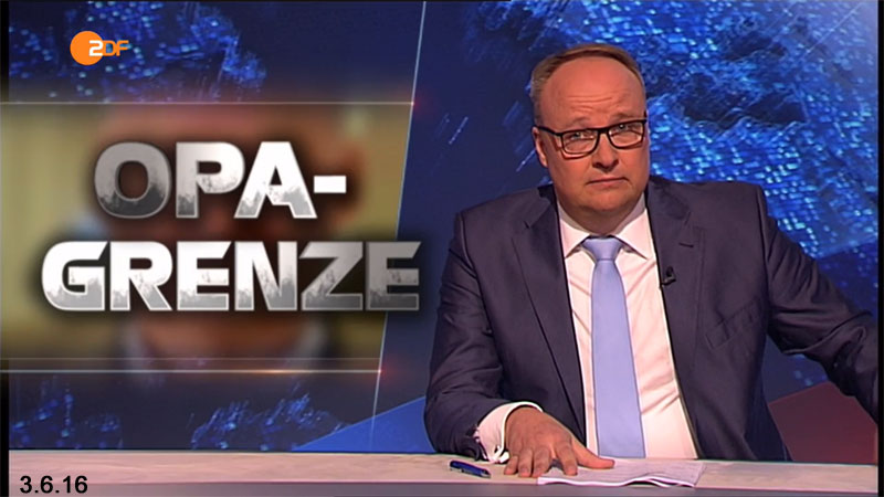 Oliver Welke fordert in der Heute-Show eine Opa-Grenze. Will er Alte in Deutschland euthanisieren? #Date:06.2016#